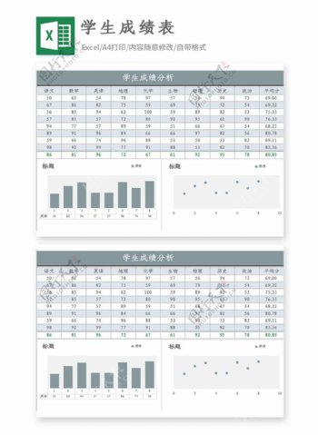 学生成绩分析Excel模板