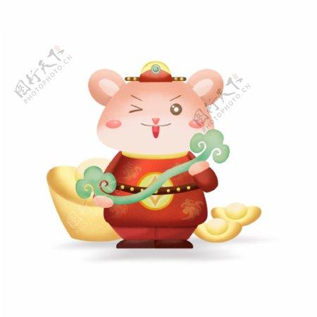 2020鼠年贺岁可爱卡通鼠抱玉如意