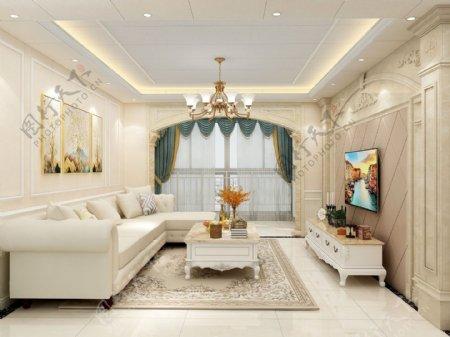 欧式风格客厅效果图背景墙