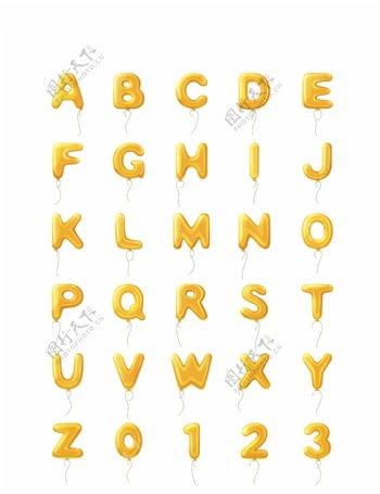 金色气球26字母数字图标ico