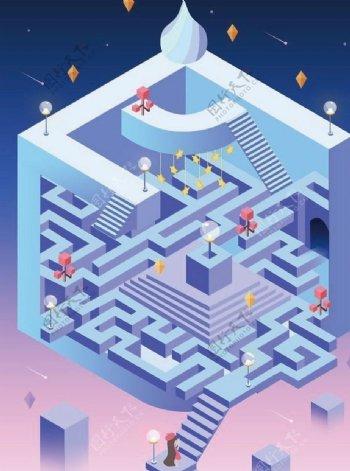 迷宫2.5D插画