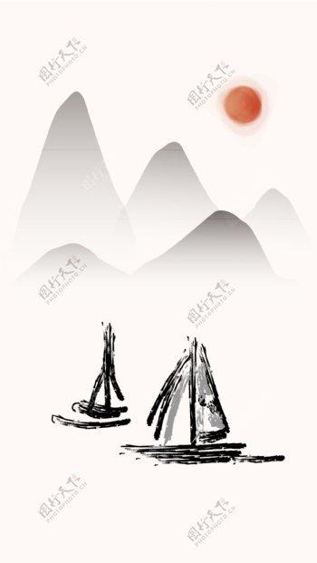 原创矢量山水画AI格式