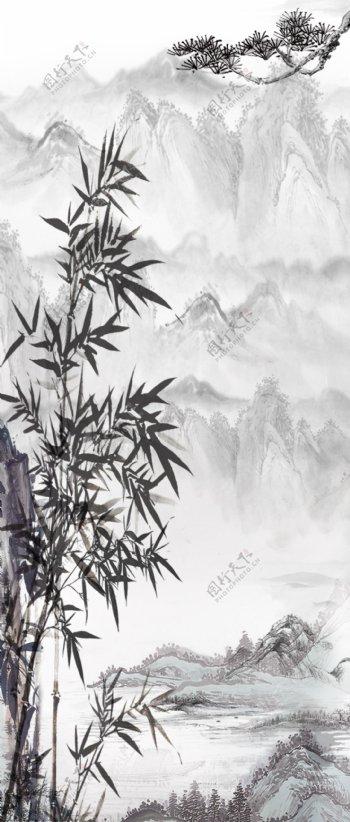 水墨山水竹子背景