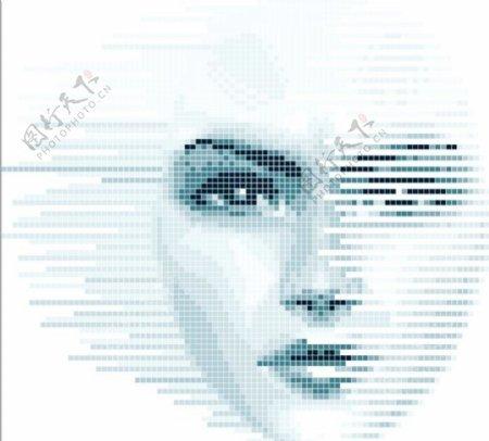 人工智能人脸识别矢量图标