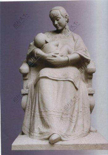 母与子雕塑母爱塑像亲子