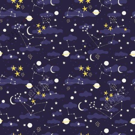 几何星空无缝拼接印花图案