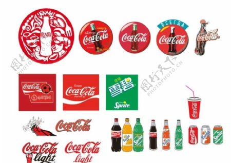 标志可口可乐古典元素雪碧