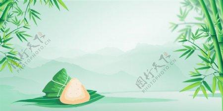 端午清新绿色插画卡通竹子背景
