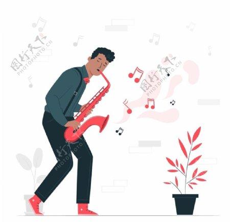 音乐吹萨克斯人物插画设计
