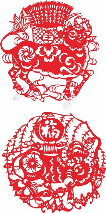 中国年传统牛剪纸新年春节素材