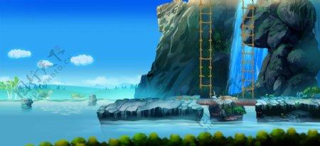 河流瀑布动漫动画手绘场景