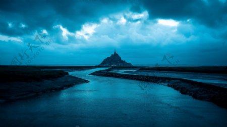 海洋蓝色夜晚天空梦幻背景素材