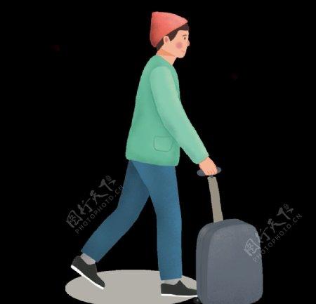 拉行李的男生