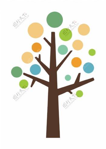 五颜六色活泼的大树儿童画