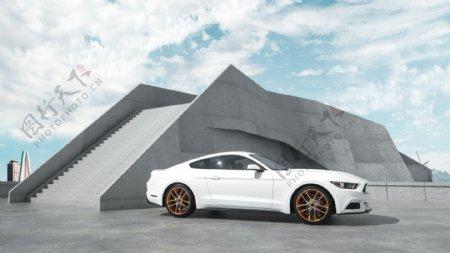 轿车跑车白色城市地面背景素材