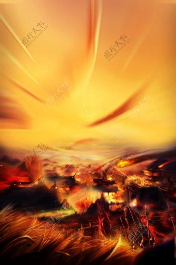 战争光线光点氛围复古火焰背景