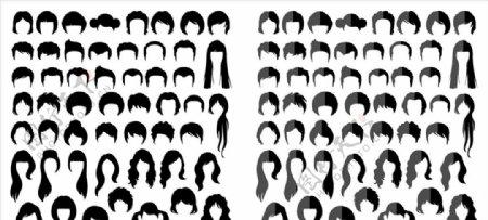各种男女生发型矢量剪影合集