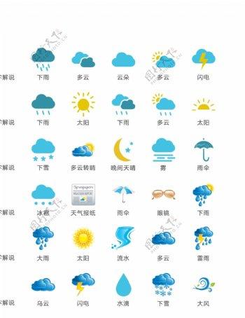 天气云朵气象矢量UI素材