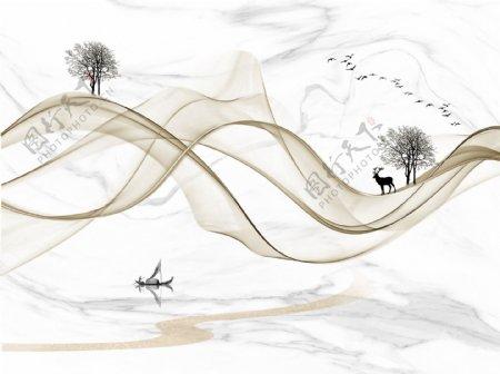 中式抽象山水画