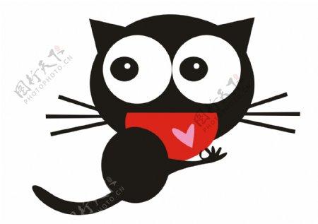 卡通漫画猫潮牌图案心
