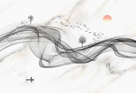 中式抽象意境山水