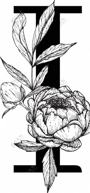 花卉装饰字母字母I