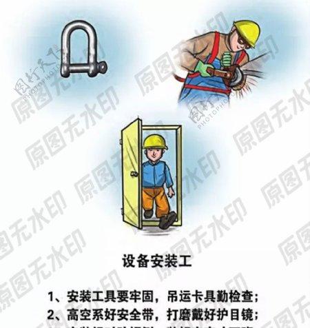 安全生产漫画一设备安装工