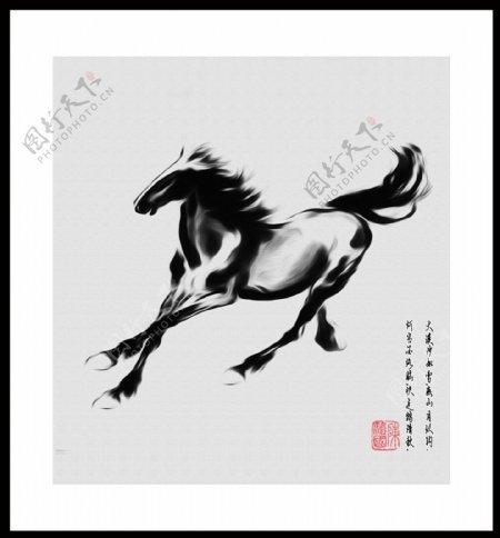客厅装饰画马