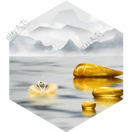 新中式金色水墨意境山水装饰画