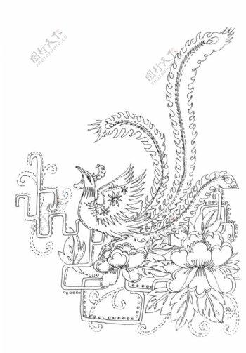 传统刺绣花纹线稿图片