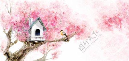 油画小鸟鸟窝树上的房子