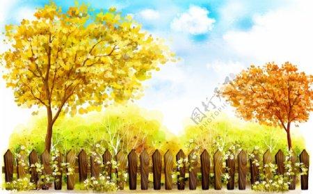 油画金黄色枫树枫叶