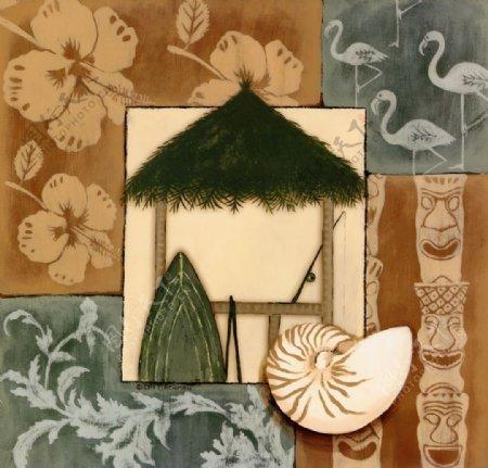 美式花纹枫树叶装饰画