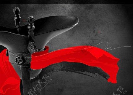 古风红绸古酒杯宣传海报