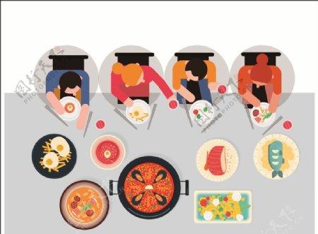 卡通吃火锅喝酒朋友聚餐吃饭餐厅