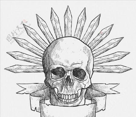 手工绘制头骨剑图片