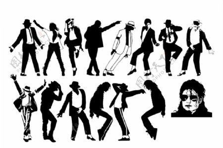 矢量剪影迈克尔杰克逊跳舞图片