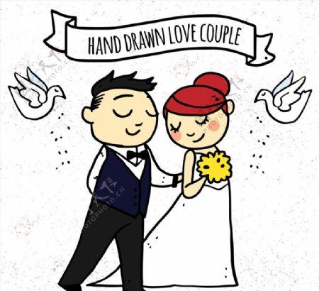婚礼新人和白鸽图片