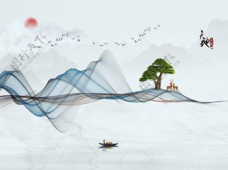 新中式山水画图片