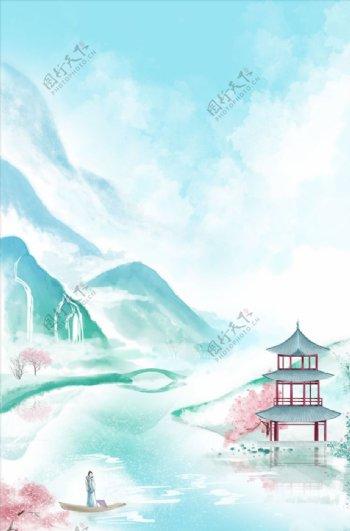 古风山水亭子背景图片