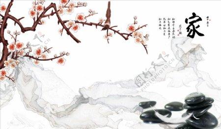花鸟画梅花鹅卵石背景墙图片