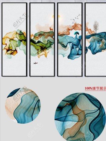新中式意境山水线条四联条幅挂画图片