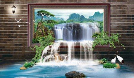 高山流水瀑布迎客松背景墙图片