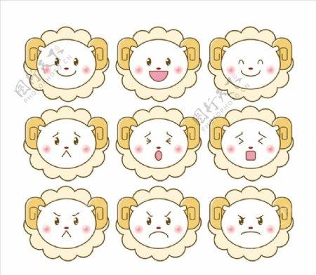 绵羊卡通表情图片