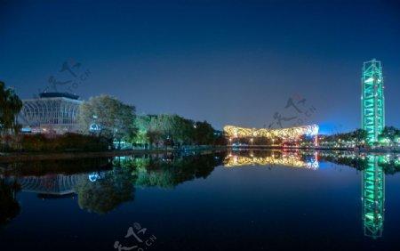 鸟巢夜景图片