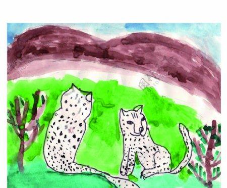 狐狸狗儿童画图片