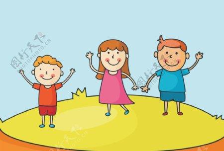 大人小孩欢庆插画手绘画图片