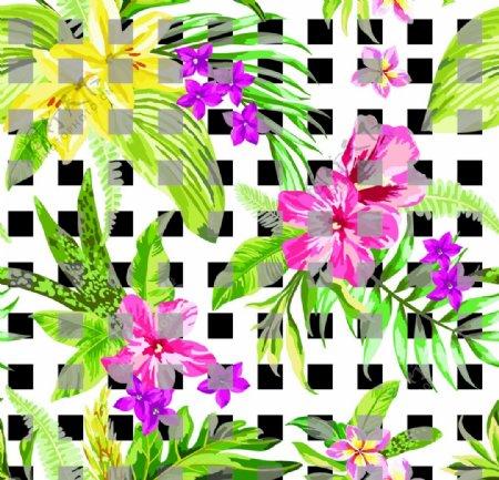 格子水彩花卉图片