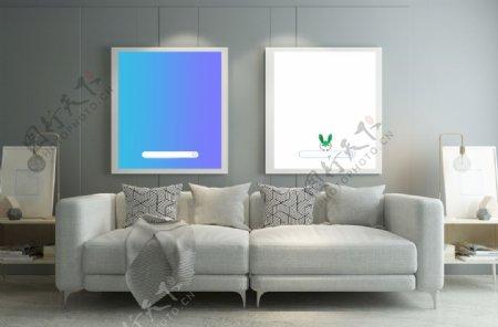 客厅背景墙画框样机场景沙发图片