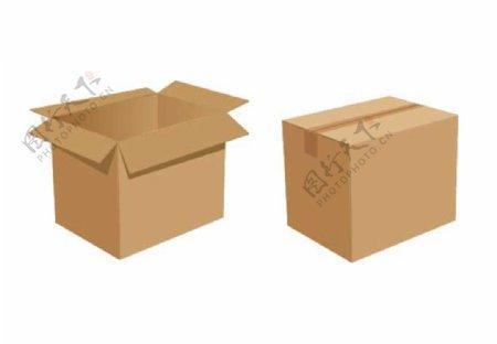 25D扁牛皮纸箱货物矢量图片